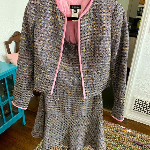 BEBE STRAPLESS DRESS AND JACKET